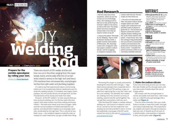 Hackett's DIY Welding Rod article in MAKE Magazine